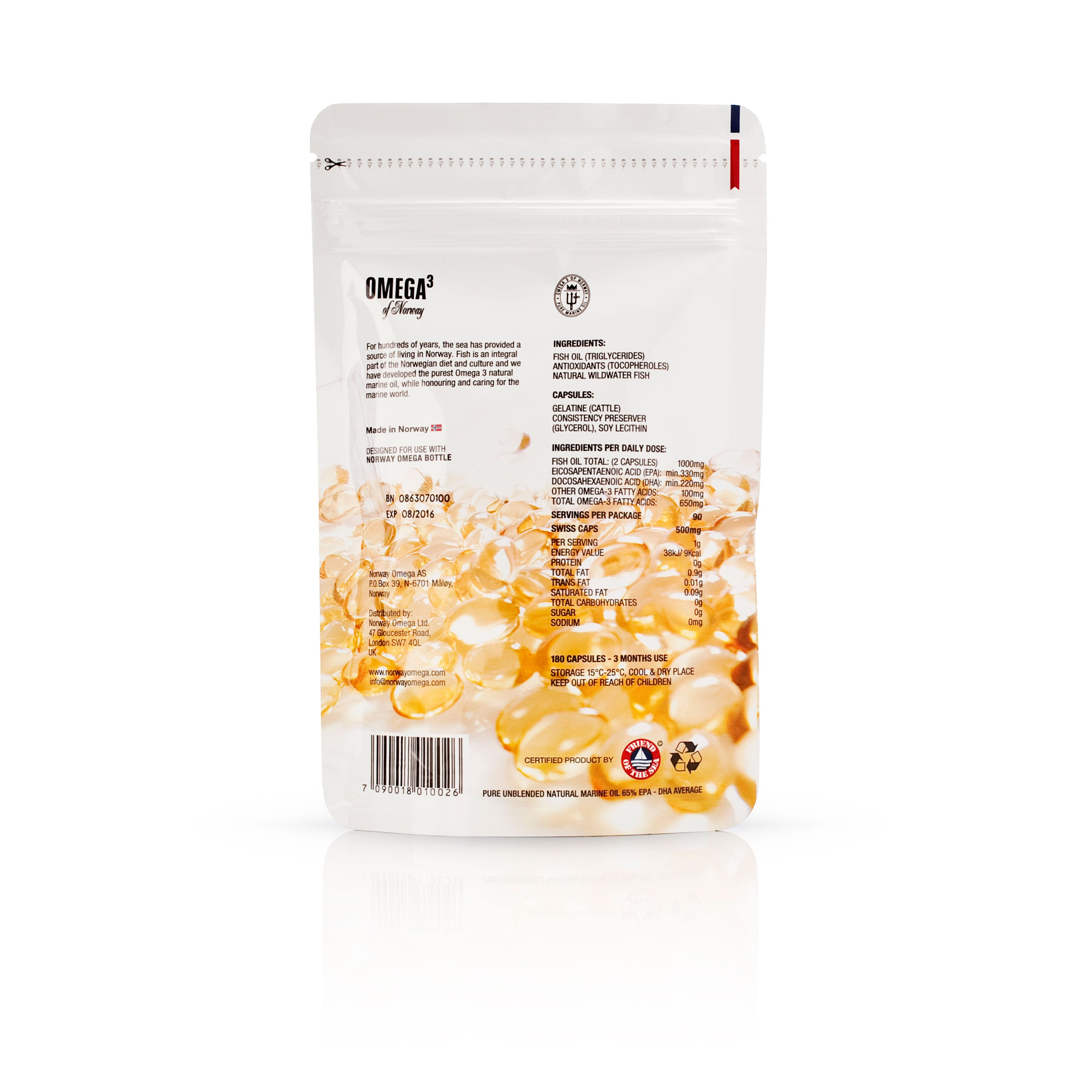 Omega 3 Travel Pouch - 60 Capsules - Back
