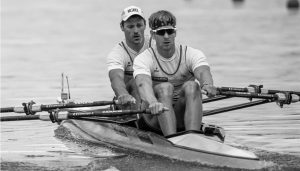 Swiss Olympic rower and Norway Omega ambassador, Barnabe Delarzé, competing in a rowing event